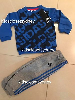 BNWT Authentic Adidas Baby Boys tracksuit jumper pants size 1 2