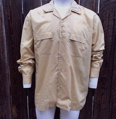 Vintage 50's Men's Shirt Brent Long Sleeve Gold Yellow Embroidered Button XL XXL