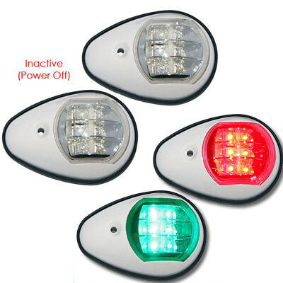2X Marine Boat White Cover Green Red Starboard Port Navigation Lights Lamps