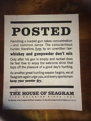 The House of Seagram Whiskey & Gunpowder POSTED Sign