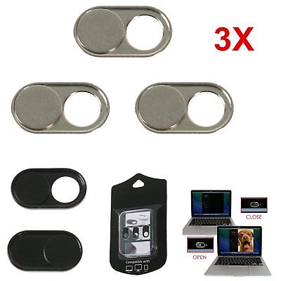3* Sliding Webcam Cover Case Camera Lens Shield for iPhone Android Laptop Silver