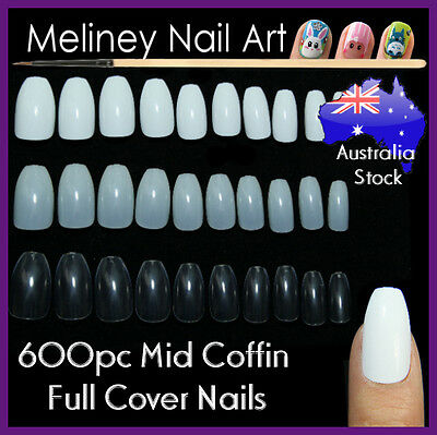 600pc Mid Coffin Ballerina Shape Full Cover Nails False Tips Length