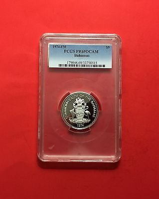 Bahamas -1974 FM -Silver $5 -certified by PCGS PR69 Deep Cameo.ALMOST PERFECT.