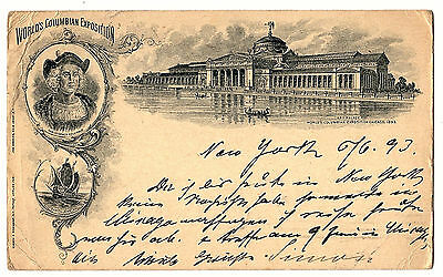 1893, USA, Bild-GS mit ZuFr., WORLD'S COLUMBIAN EXPOSITION nach Deutschland gel.