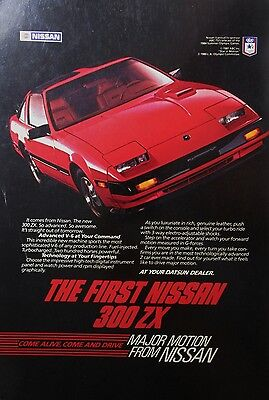The First Nissan 300ZX 1984 Red Original Print Ad Datsun 10 x 7 - Magazine Cover