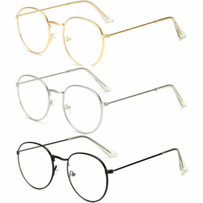 Oval Round Lens Slim Metal Frame Clear lens Fashion Glasses Mens Womens Ladies
