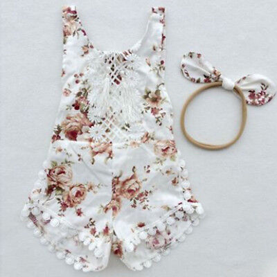 Newborn Baby Girl Floral Clothes Jumpsuit Romper Bodysuit +Headband Outfit Set I