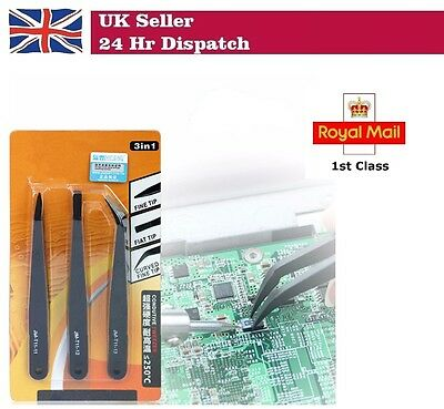 3PCS Electronic Professional Coated Precision Tweezers Set Non Magnetic Tool PCB