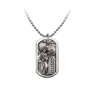 Veterans Remembered Dog Tag with Raised Relief Digger