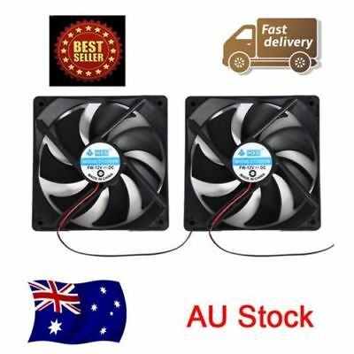 2pcs 120mm 120x25mm 12V 0.30A 4Pin DC Brushless PC Computer Case Cooling Fan AU