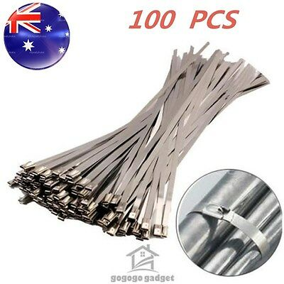 100PCS 4.6x300mm Stainless Steel Exhaust Wrap Coated Locking Bulk Cable Zip Ties