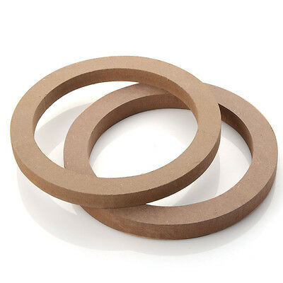 """2 Pcs 6.5"""" inch Wooden MDF Speaker Mounting Spacer Rings For Car Stereo New"""