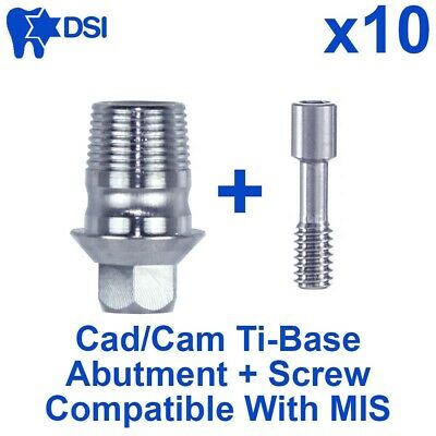 10 Dental Implant CAD/CAM Connection Ti-Base abutment Int Hex MIS Compatible