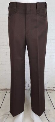 Vtg 1970s Brown Poly Sta Prest Western Trousers Rodeo Made in USA W32 EF46