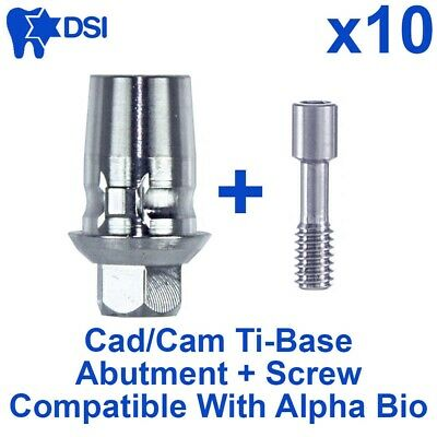 10x Dental Implant CAD/CAM Ti-Base Abutment Int-Hex Alpha Bio Sirona Compatible