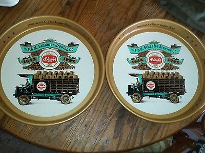 (2) Two Schaefer 150th Anniversary Vintage Metal Beer Serving Trays 1992 Stroh