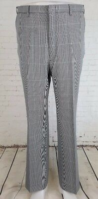 Vtg 1970s Mens Dogtooth / Windowpane Check Poly Sta Prest Trousers Mod W35 EF47