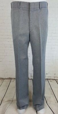 Vtg Mens Multi Tone Grey Poly Sta Prest Trousers Geek USA  -34L- EF48