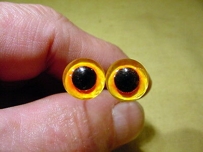 black taxidermy crafts a pair vintage solid Glass Eyes size 10 mm yellow