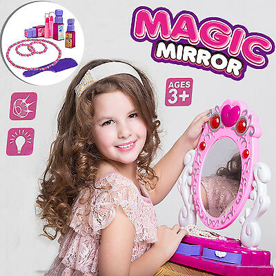 Princess Glamour Mirror Beauty Dressing Table Girls Light U0026music Toy Play  Set