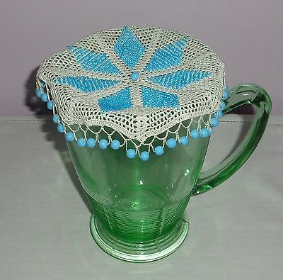 Vintage/antique Beaded/bead White Crochet Milk Jug Cover - Blue Glass Beads
