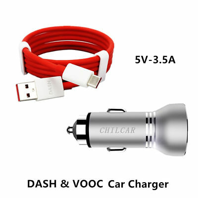 OFFICIAL CHILCAR LED Display Dash Car Charger 4A Type-C Cable For OnePlus 5  3 3T