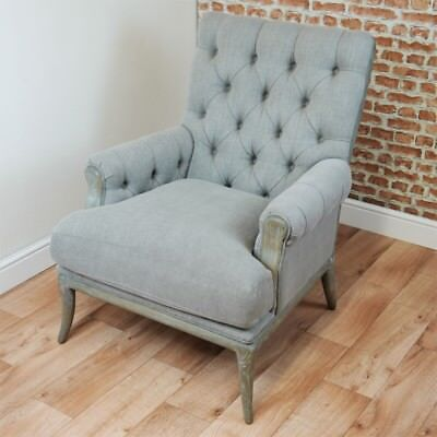 Amblar Chair Distressed Limed Oak Grey Buttoned Back Armchair Fireside