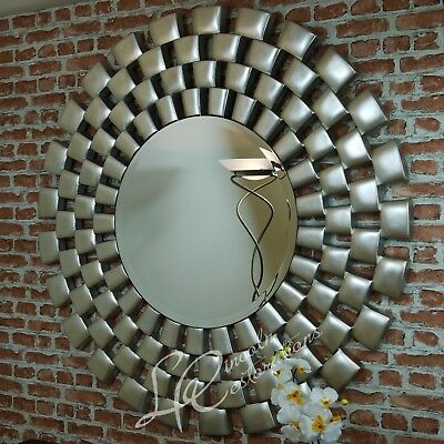 Laviana Large Contemporary Silver leaf Round Wall Hanging Mirror