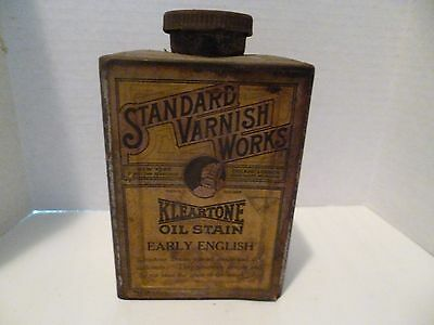 Vintage Standard Varnish Works Kleartone Oil Stain Early English Container