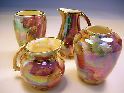 Collectable J Fryer Oldcourt Ware Ornaments x2 Sm Vases x2 Sm Jugs VGC (WH_1040)
