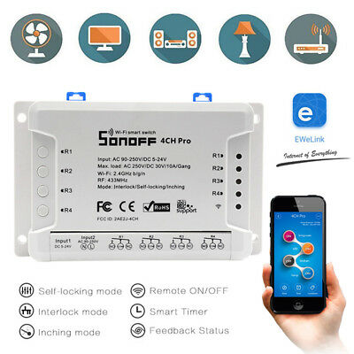 Sonoff Pro 4CH 4 Channel Din Rail Mounting Smart Switch Home Automation Timer US