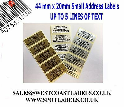 Personalised Gold/ Silver/ White Pre Printed Small Sticky Return Address Labels