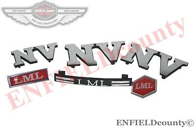 VESPA PX LML NV HORN CASTING LEG SHIELD COWL LOGO BADGE KIT 6 Pcs SET @DE