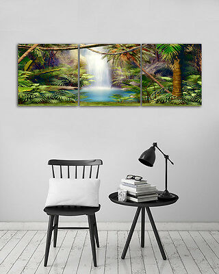 3 Panel No Frame Jungle Waterfall Canvas Wall Art Home Decor Modern Oil Painting