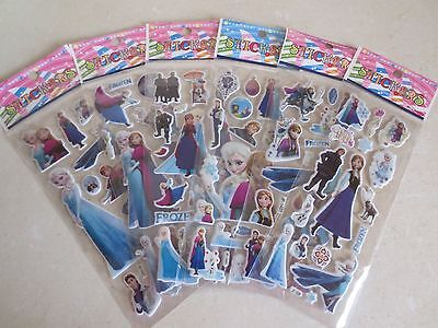 Frozen Stickers 10 Packets Party Fun Bag Elsa Anna Olaf Sven Bnwt New