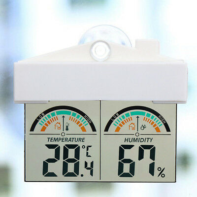 LCD Digital Thermometer Hygrometer Indoor Outdoor Glass Window Mount Suction NEW