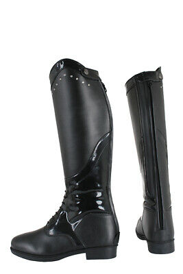 HORKA Long Patent/Diamante Embellished Riding Boot - Donna - Black