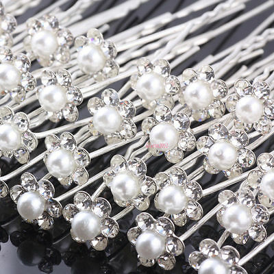 20 40pcs Pearl Flower Diamante Crystal Hair Pins Clips Prom Wedding Bridal Party