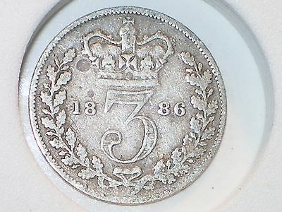 1886 Great Britain Silver Threepence Queen Victoria circulated