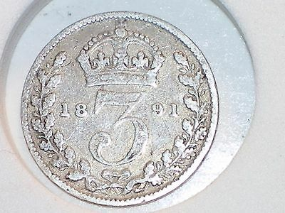1891 Great Britain Silver Threepence Queen Victoria circulated