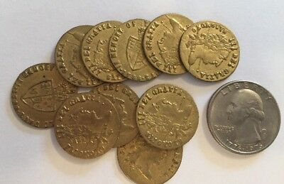 10 Antique English Gaming Tokens George III 1788 Token Jeton Spade Half Guinea 1