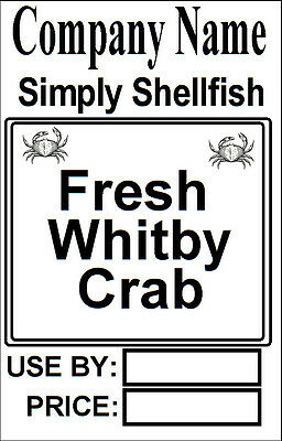 Shell Fish Label Personalised Ingredients Sticky Labels, Company Name Price Date