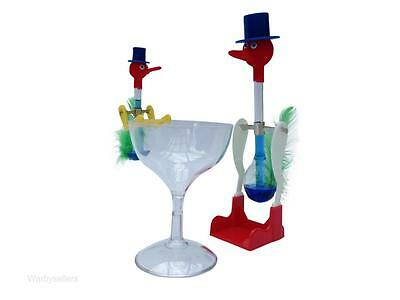 Retro Novelty Glass Drinking Bird Dippy Dipping Bobbing Happy Lucky Toy Vintage