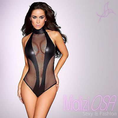 Body Donna Intimo WetLook Nero Rete Tessuto Lucido Collo alto PVC Catsuit