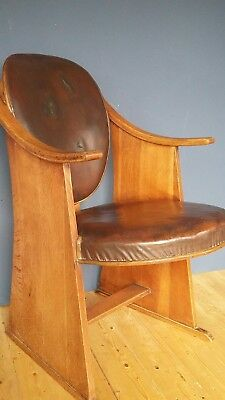 1930s Art Deco oak & leather cinema or theatre chair - possibly an usher's seat