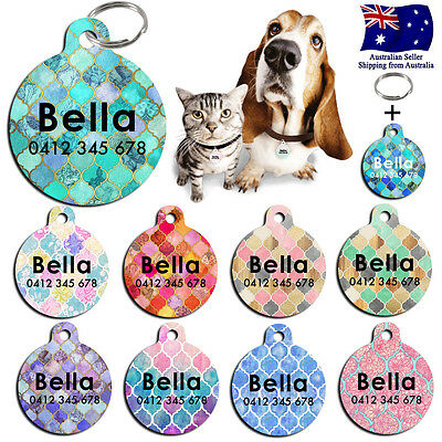 Steel Personalized Pet cat dog Tag Custom Key ring Name Tags Moroccan Pattern