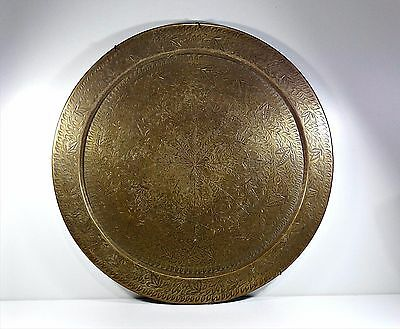 Antique Our Vintage Indian Solid Brass Hand Engraved Big Tray / Wall Plate