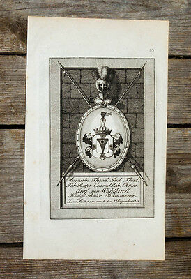 1831 Wappen Coat of Arms Michaelsorde Graf von Waldkirch Kupferstich