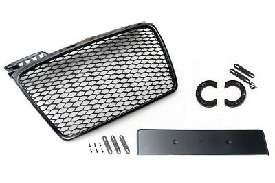 For Audi A4 B7 04-09 Badgeless Mesh Grill Debadged Front Grill Gloss Black-