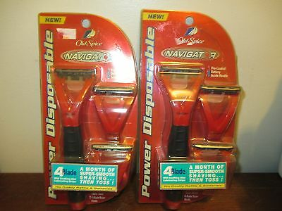 (2) Old Spice power disposable navigator razor with refill blade heads *battery